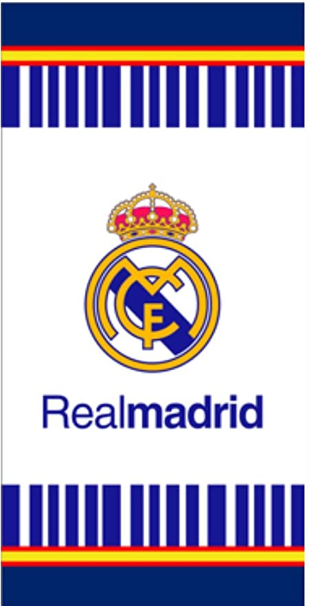 Toalla de Real Madrid, toalla de baño, toalla de playa 70x140cm (Blanco con