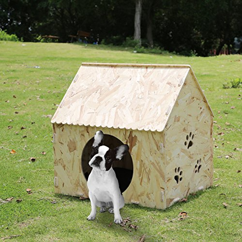 Generic Dog House, Wooden Dog Kennel Indoor Outdoor Pet House With Bed Mat For Small Medium Dog Cat Puppy Houses 22.44″X22.44″X19.7″ Review