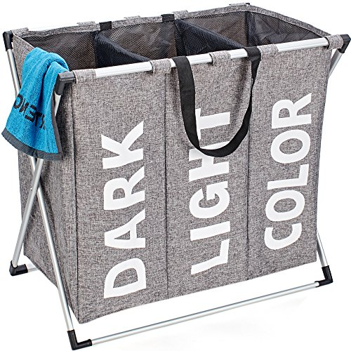 HOMEST 3 Sections Laundry Hamper Basket with Aluminum Frame 25.5''L×22.5''H Durable Dirty Clothes Bag for Bathroom Bedroom Home, (Bathroom Clothes Hampers)