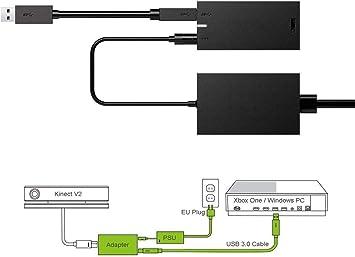 Roebii Adaptador Kinect para Xbox One X/S, Windows Adaptador para PC Fuente De Alimentación Sensor