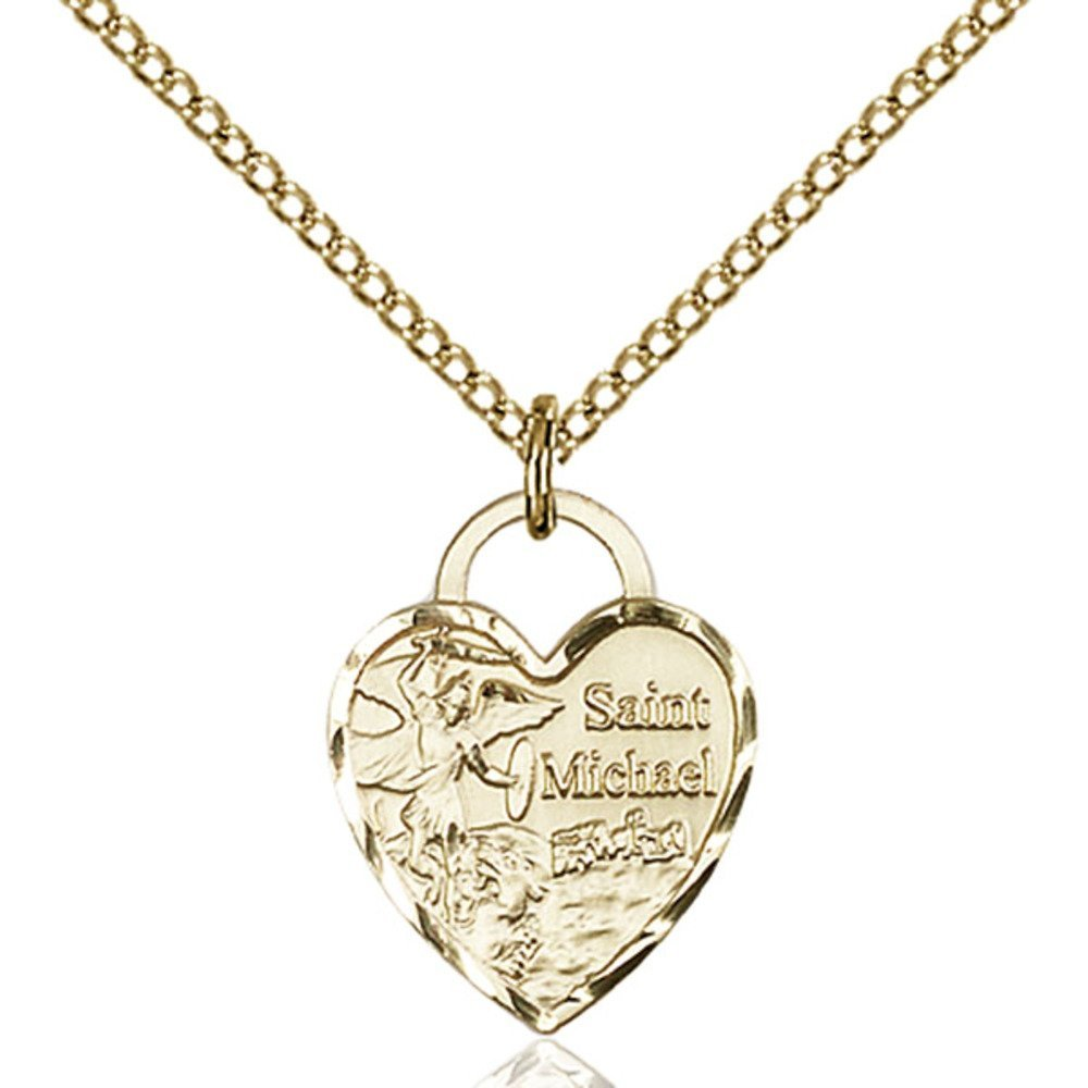 Gold Filled St. Michael Heart Pendant 5/8 x 1/2 inches with 18 inch Gold Filled Curb Chain Bliss Manufacturing 3403GF/18GF