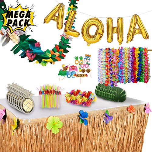 Luau Party Decorations and Supplies Complete MEGA Pack - 175 Items - Hawaiian Birthday Aloha Summer Beach Tropical Theme Decoration Set. By Illusive Supplies