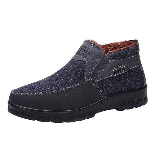 QinMM Zapatos de algodón para Hombre Botas de Invierno Engrosamiento más Terciopelo cálidos Zapatos Casuales Slip on Mocasines: Amazon.es: Zapatos y ...