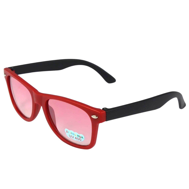 discount Kids Retro Wayfarer Uv400 Sunglasses Red with Black Arm for sale