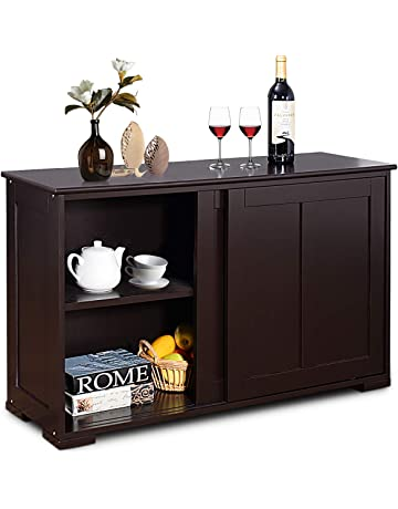 Costzon Kitchen Storage Sideboard Antique Stackable Cabinet For Home Cupboard Buffet Dining Room Espresso