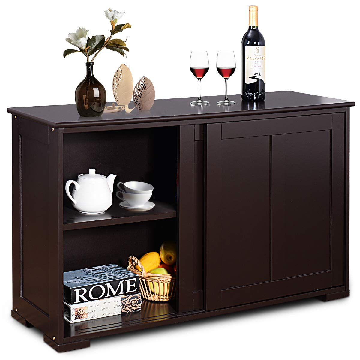 Costzon Kitchen Storage Sideboard, Antique Stackable Cabinet for Home Cupboard Buffet Dining Room (Espresso Sideboard with Sliding Door)