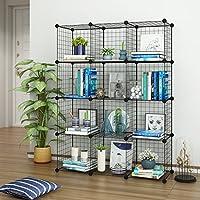 Tespo Wire Cube Storage Shelves Book Shelf Metal Bookcase Shelving Closet Organization System DIY Modular Grid Cabinet