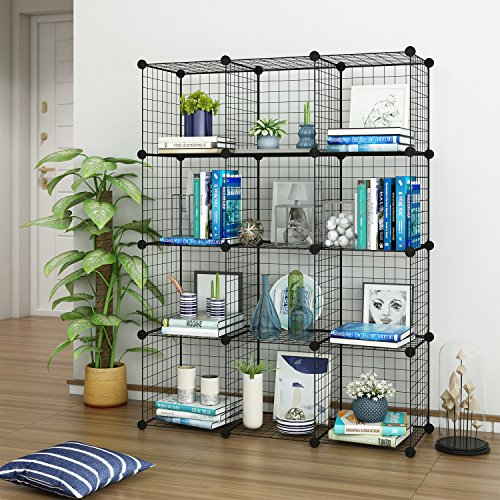 Tespo Wire Cube Storage Shelves Book Shelf Metal Bookcase Shelving Closet Organization System DIY Modular Grid Cabinet (12 Cubes) Big Book Rack