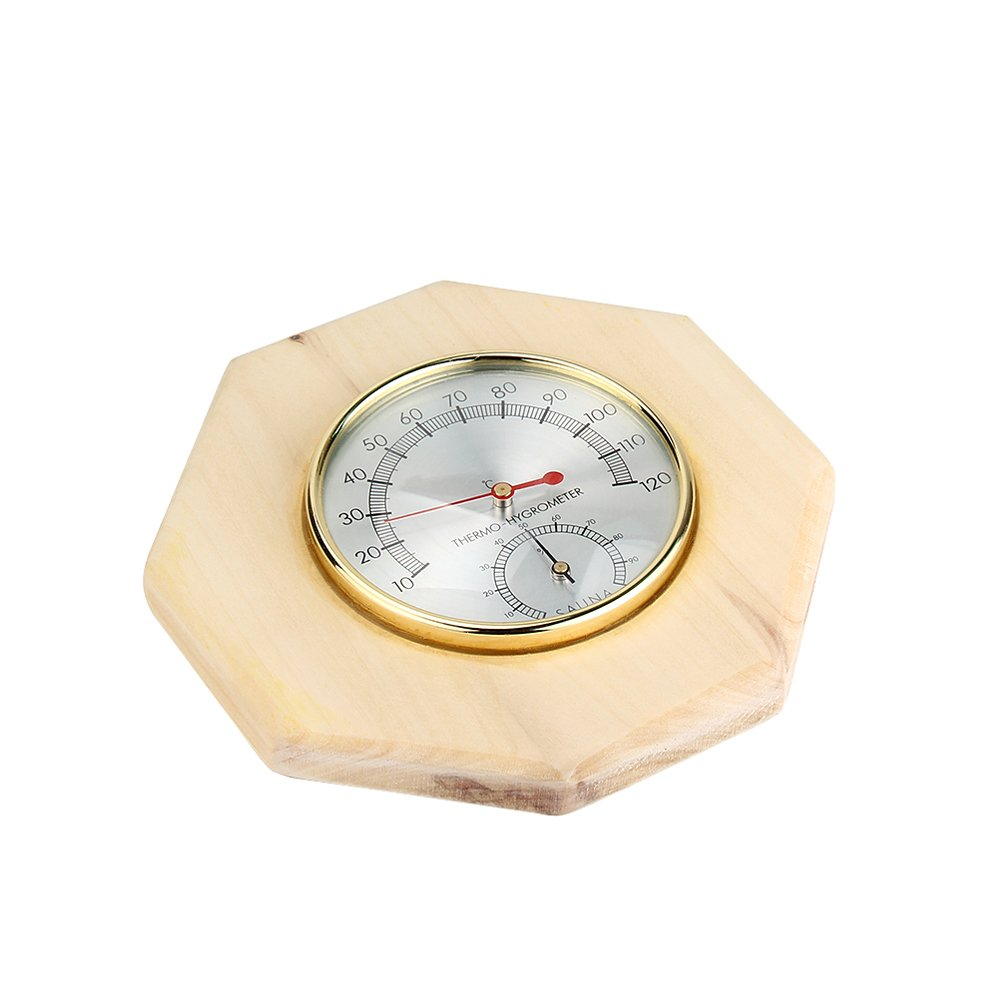 2 In 1 Decorative Wood Thermometer / Hygrometer / Hygrothermograph for Sauna Room - Hexagon - 4.5 inch Diameter Dial Face TOP HIGH TECHNOLOGY CO. LTD