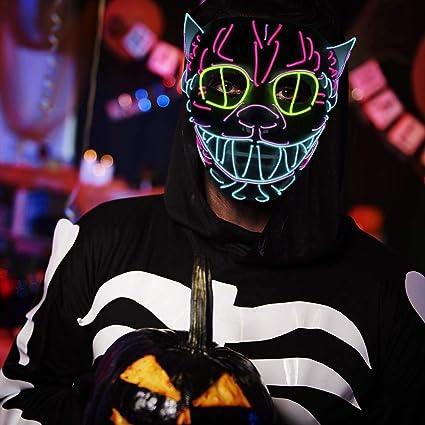 Máscara LED de luz para Halloween, calabaza, Navidad, Halloween, DJcumpleaños, disfraces