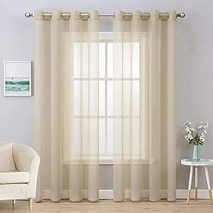 MIULEE 2 Panels Solid Color Beige Sheer Curtains Elegant Grommet Window Voile Panels/Drapes/Treatment for Bedroom Living Room (54X108 Inch)