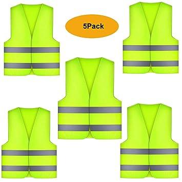 5x Auto Weste Warnwesten Sicherheitsweste mit reflektierenden Streifen in Gelb