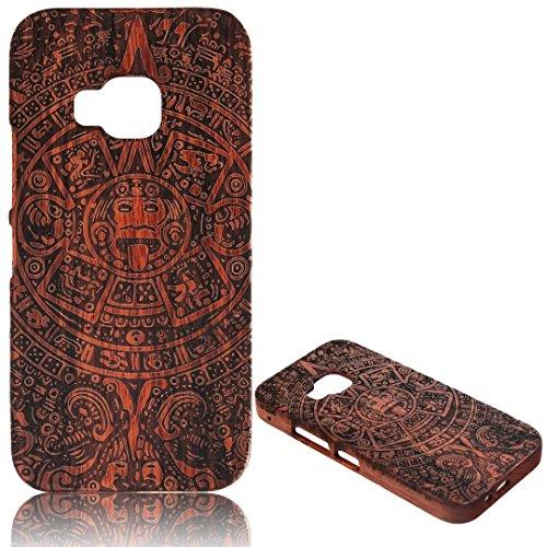 para HTC One M9 Wood Case, Vandot 2 en 1 Funda Madera Real Rigida Cubierta Carcasa Protectiva Tapa Trasera Anti-Shock Caja del teléfono móvil para HTC One M9, Diseño del árbol de coco Wood 01