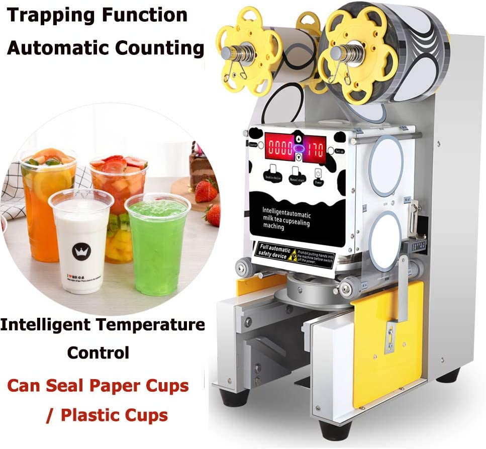 Fully Automatic Cup Sealing Machine, Cup Sealer Machine Digital Control 450W Commercial Electric Fully Automatic Sealer Paper Plastic Cup Sealing Machine for Bubble Milk Tea Coffee Smoothies Sealer