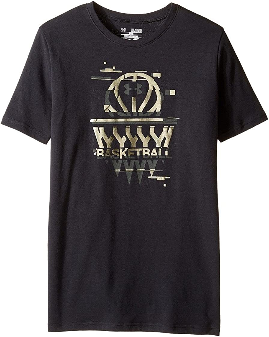 Big Kids Black//Iridescent Foil Large Under Armour Kids Boys Basketball Badge Short Sleeve Tee