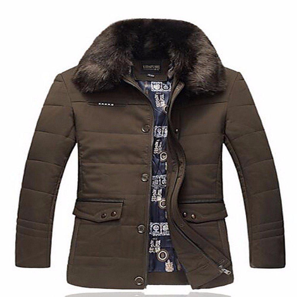 ZHUDJ Men's Long Down Coat,Occasionnels Solid-Cotton Simple Tous Les Jours d'autres Manches en Polypropylène vert 6XL