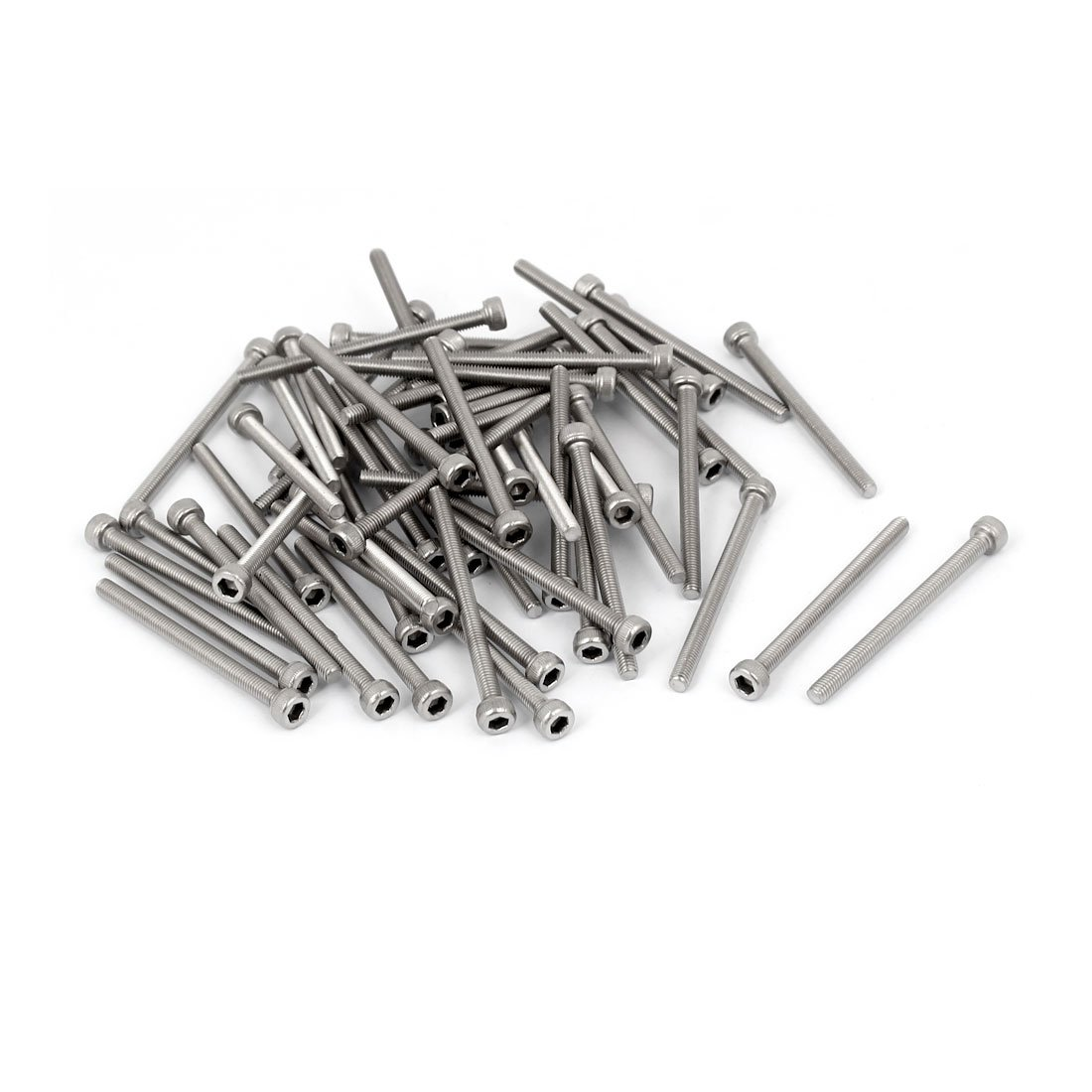 uxcell M3x40mm Thread 304 Stainless Steel Hex Socket Head Cap Screw Bolt DIN912 55pcs a16080900ux0219