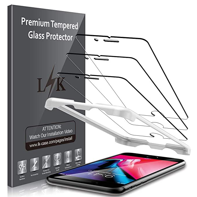 LK [3 Pack] Screen Protector for iPhone 8 Plus and iPhone 7 Plus Tempered  Glass Case Friendly DoubleDefence [Alignment Frame Easy Installation] with