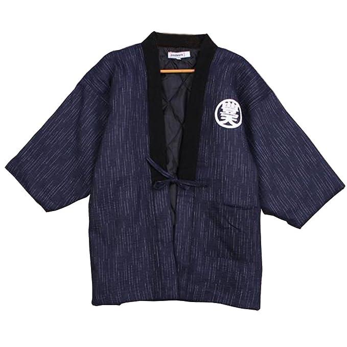 Batas de Estilo japonés para Hombres Kimono Pijamas de Abrigo B