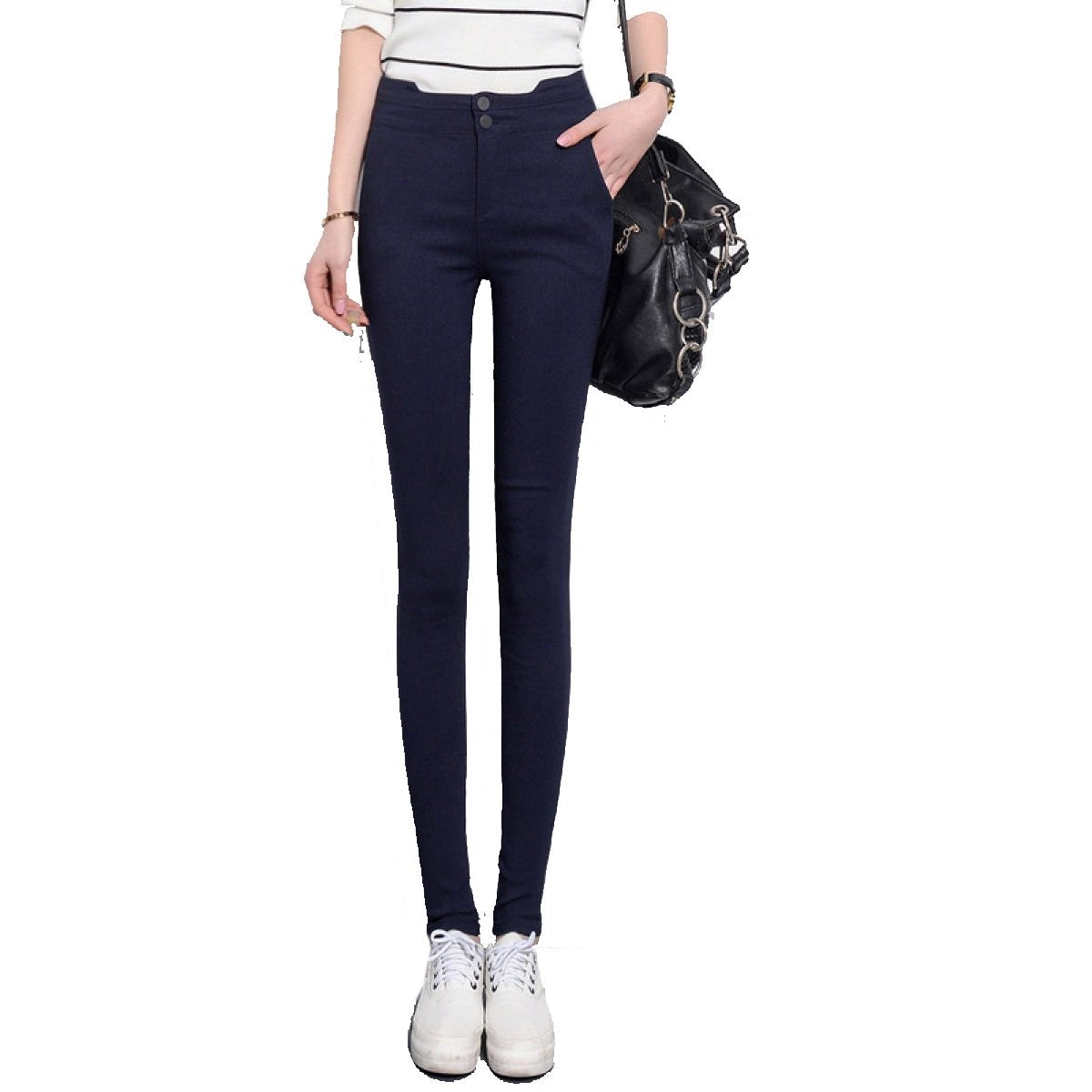 Darkbleu 3XL snfgoij Collants pour Les Les dames Pantalons Leggings Pantalons Tight noir Buckle Taille Waichuan Stretch Pants Pantalons