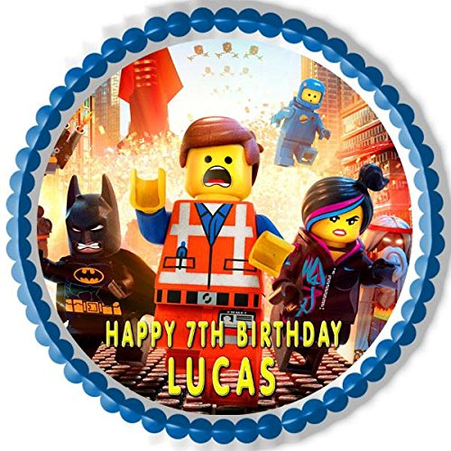 LEGO MOVIE Edible Birthday Cake OR Cupcake Topper - 10' round inches by Edible Prints On Cake