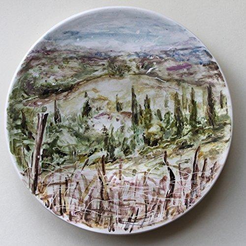 Hand Painted Ceramic Plate art ceramic dish ItalyTuscany hills view wall plate & Amazon.com: Hand Painted Ceramic Plate art ceramic dish Italy ...
