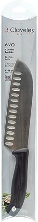 3Claveles Evo  - Cuchillo Santoku alveolado, 18 cm, 7 pulgadas