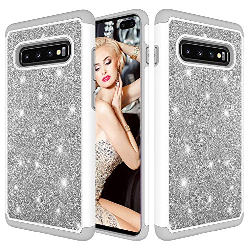 - Ankoe Galaxy S10 Plus Case, Heavy Duty Glitter Sparkle Hard Cover with Dual-Layer [Hard PC + Soft TPU] Protective Cover Case for Samsung Galaxy S10 Plus (Silver)