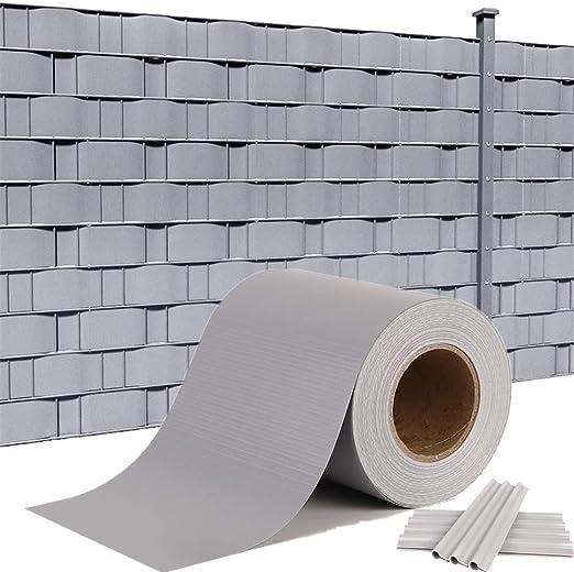 Hengmei - Panel protector de privacidad de PVC, valla, rieles de fijación, cubrevientos, valla opaca para jardín, panel de doble varilla para valla de jardín, balcón, color gris: Amazon.es: Jardín