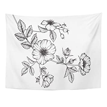 Amazoncom Tompop Tapestry Black Wild Rose Flowers Drawing Sketch