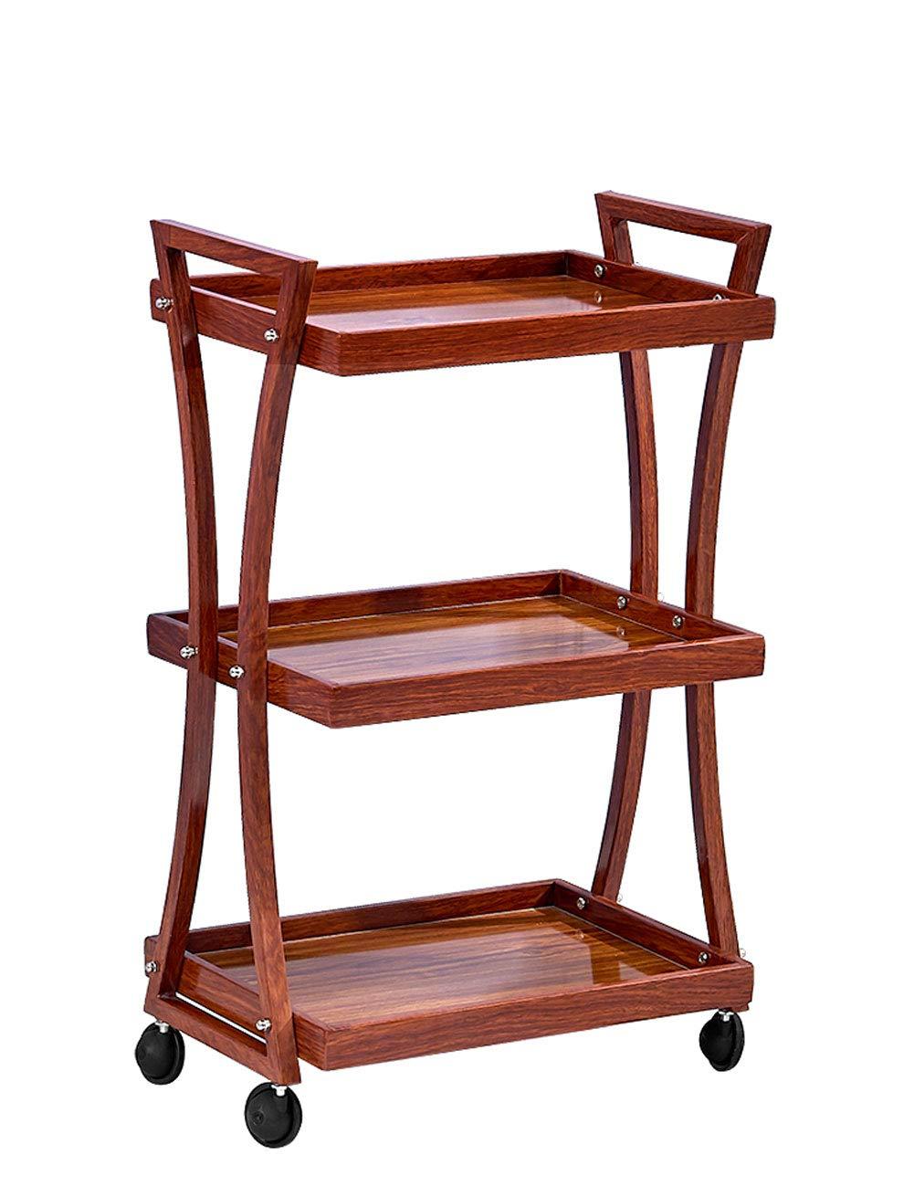 Q Ian l Ij i AJ i- 多機能三層カート木製モバイルラックツールカート 家庭用トロリー (色 : A) B07RJMCKTJ A