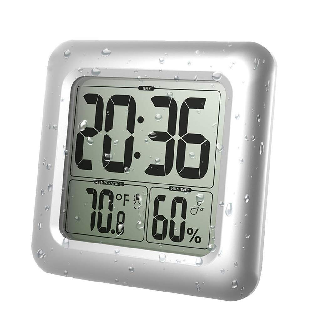 XGG Digital Bathroom Shower Clock - Waterproof Bathroom Clock Suction - Timer Temperature Humidity Wall Shower Clock Kitchen Wall Clocks, Silver by XGG