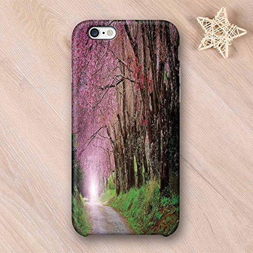 (Japanese Garden Hard Shell Compatible with iPhone Case,National Park in Chiang Mai Cherry Blossoms Spring Picture Compatible with iPhone 7/8,iPhone 6/6s)