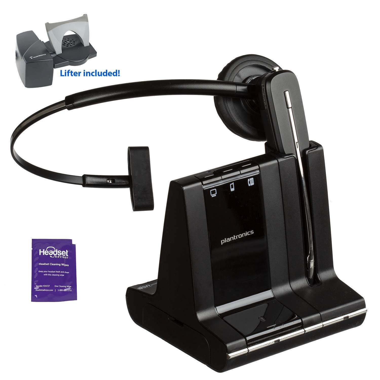 Plantronics Savi W740 Wireless Headset System Bundled with Lifter and Headset Advisor Wipe (Renewed)