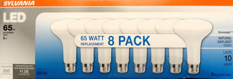 Sylvania LED 65 Watt Replacement 8 Pack Light Bubls Uses 9 Watts - - Amazon.com