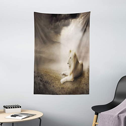 Ambesonne Safari Tapestry, White Lion at Sunset Dramatic Sky Foggy Clouds Desert Sunlights Wilderness, Wall Hanging for Bedroom Living Room Dorm Decor, 40 X 60 , Dimgray Beige