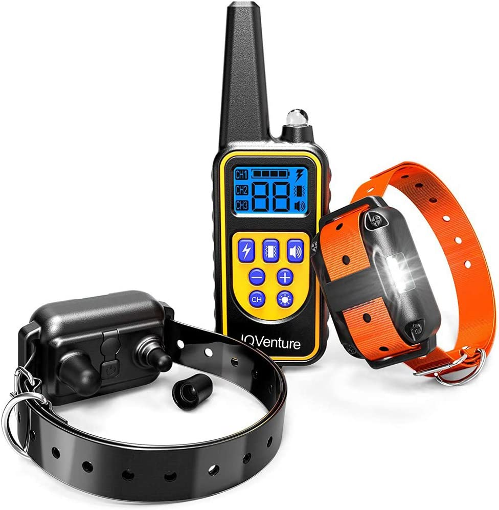 IQVenture Dog Training Collar,Long Range 2600ft Rechargeable Shock Collar,100 Waterproof Dog Shock Collar with Remote and 4 Training Modes, Beep, Vibration, LED Light and Shock,0 99 Shock Levels