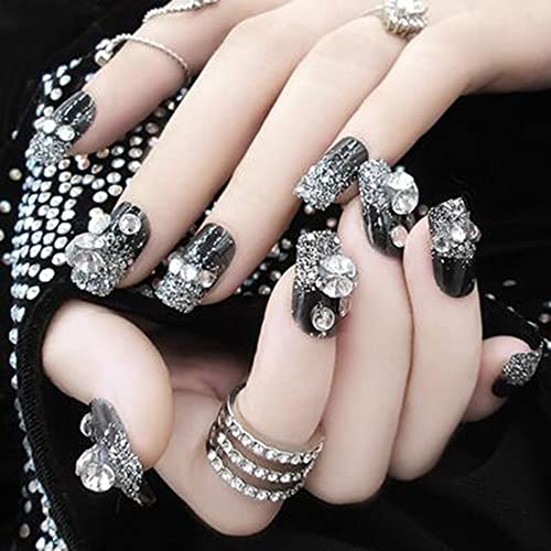 Dongcrystal 24Pcs 3D Bling Nail Art Jewelry Glitter Rhinestone Decor Nail  Tips Black Fake Nails - Bling 3D Nail Art: Amazon.com