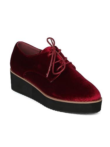c1e37e0a0b12e Amazon.com | Women Velvet Lace Up Platform Oxford Loafer Creeper ...