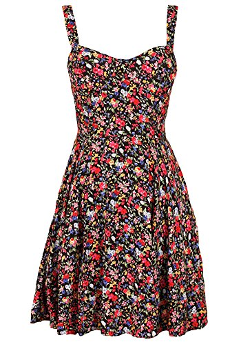 Sidecca Ditsy Floral Sweetheart Sleeveless Fit & Flare Mini Skater Tank Dress (Medium, Black (Floral))
