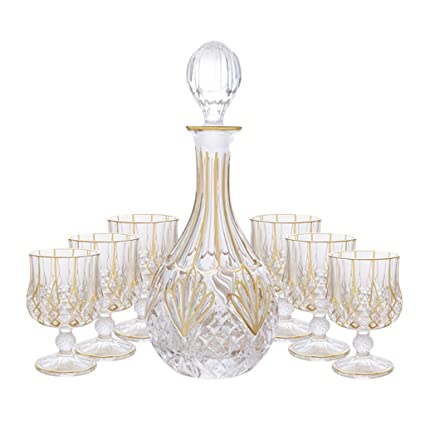 2835925f1055 Image Unavailable. Image not available for. Color  Glass Decanter 750 Ml  And 6 Glasses 230 Ml 7-Piece Outline In Gold Retro