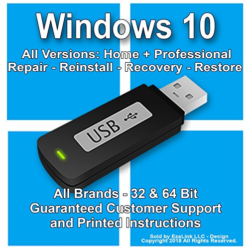 (Windows 10 Reinstall Recovery Repair Restore Boot Fix USB | Professional & Home 32 & 64 Bit ALL Brands HP, Dell, etc. [Instructions &)