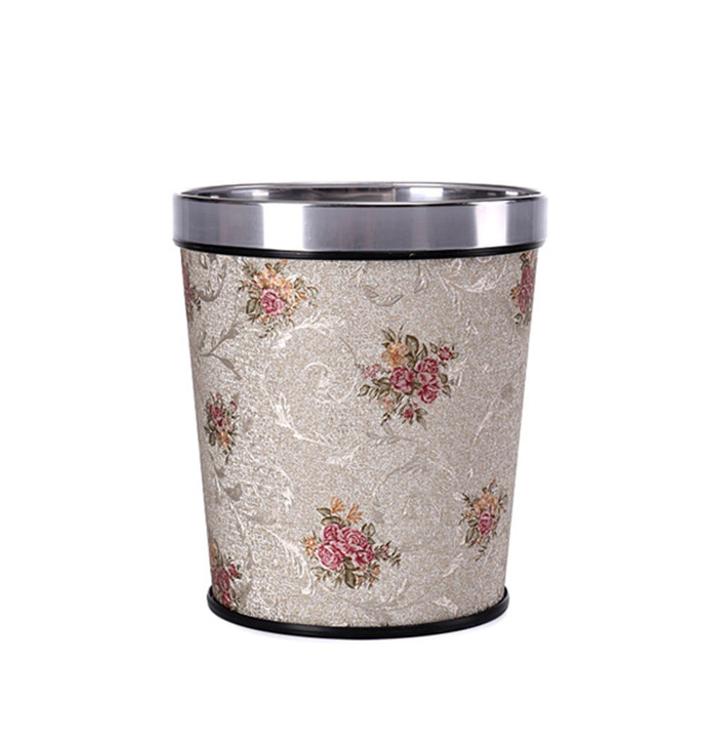 CSQ Without Cover Trash Can, Household Creative Hotel Kitchen Bedroom Living Room Bathroom Pu Trash Can Office Paper Basket 8-12L (Color : C, Size : 8L)