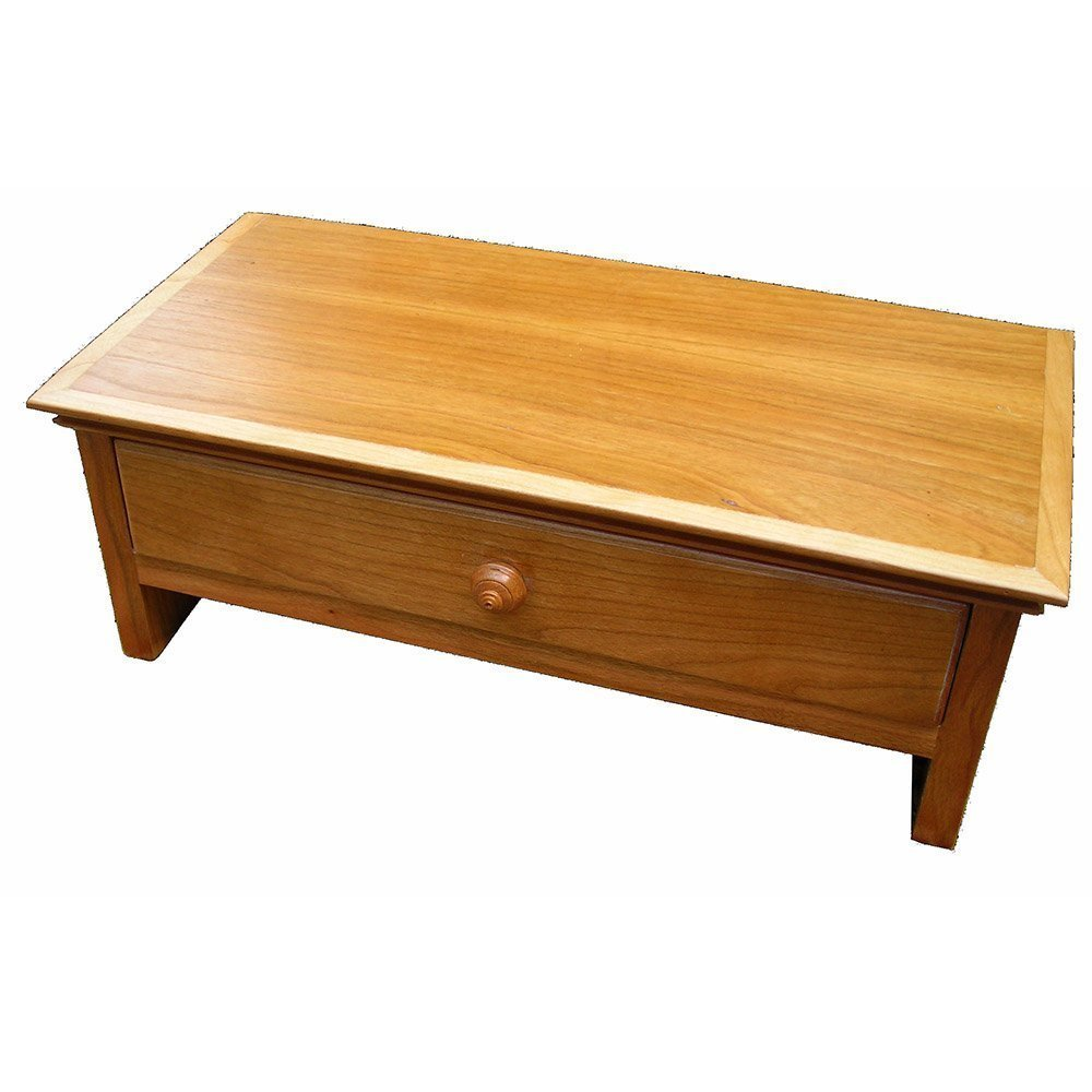 Wood Monitor Stand with Drawer and Cubby in CHERRY - Small