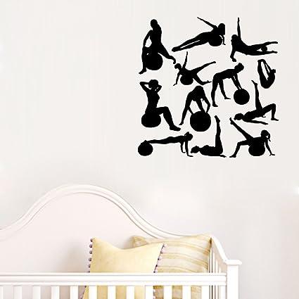 Mural ZOZOSO Creative Girl Yoga Stickers Sports Silhouette ...