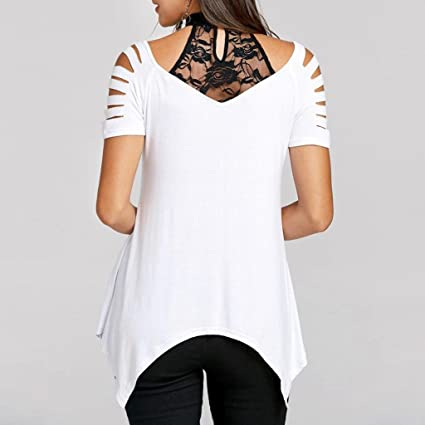 Teresamoon Deal Womens Short Sleeve Casual Love Lace Tops Loose Blouse Shirts at Amazon Womens Clothing store: