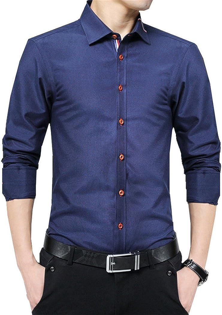 Mens Wingtip Collar Shirt Formal Casual Business Slim Long Sleeve Dress Shirts