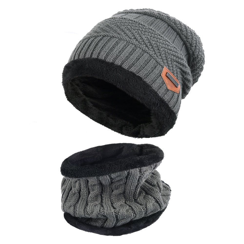 VBIGER 2Pcs Chapeau Chaud Tricot Tour de Cou avec Doublure Polaire pour Homme, Gris, taille unique
