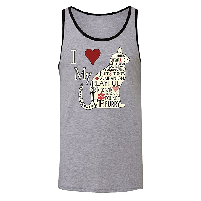 0fc8bc526 Zexpa Apparel I Love My Cat Men's Tank Top Furry Playful Cat Silhouette  Shirts Ath.