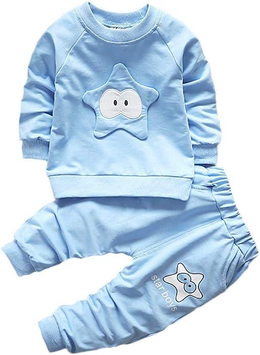 d66b0d350af8f 2PC Pyjama Ensemble Bébé Enfants Chemise à Manches Longues Star de Couleur  Unie épais Pull Chaud + Mode Simple Plus Velours Hiver Garçon Fille Pantalon